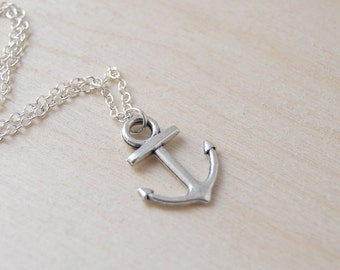 Ahoy Silver Anchor Necklace | Cute Nautical Charm Necklace | Silver Anchor Pendant
