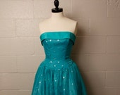 Vintage 1980's Aqua Polka Dot Strapless Formal Prom Dress S
