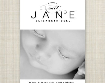 modern birth announcement, black and white baby announcement, Baby announcement cards, printable birth announcement, digital announcement