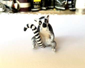 Polymer clay ring-tailed lemur totem figurine