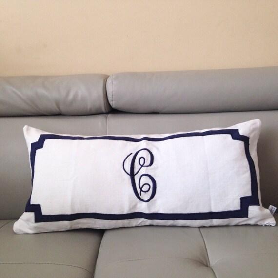 Long Lumbar Oblong Pillows Bedroom Decor Monogram Lumbar