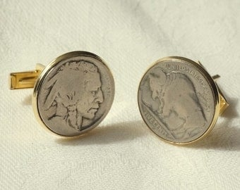Vintage Buffalo Indian Head Nickle Coin Cufflinks Cuff Links