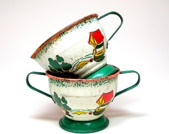 50s Tin Toy Tea Cream & sugar bowls, Apple Farm by Ohio Art.