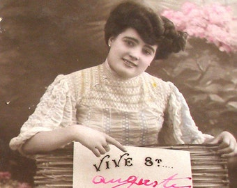 Antique French Postcard, Victorian lady with sign, RPPC paper ephemera.