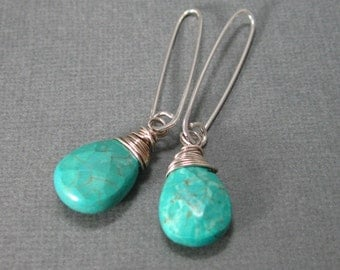 Natural turquoise drop earring with sterling silver, wrapped natural turquoise dangle earrings, turquoise drops, contemporary drops