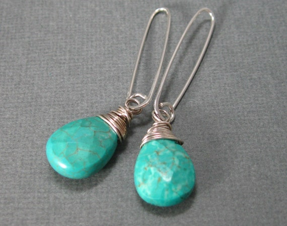 Wrapped Natural Turquoise Drop Earrings