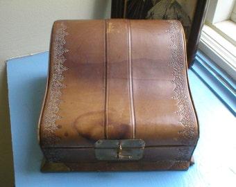 Jewelry Perfume Manicure Box Antique Victorian Shabby Worn Leather Bound Satin Lined Mirrored Vanity Dresser Case Vintage