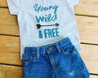 young wild and free arrow tee, infant toddler youth
