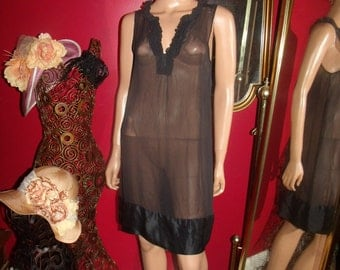 VTG Black Flapper  Dress  20'sTheme Size M
