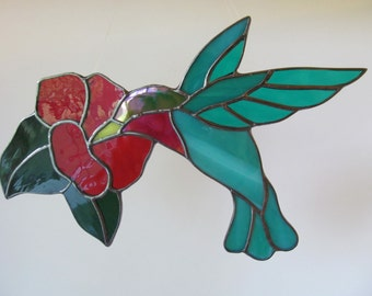 Hummingbird with Flower Stained Glass Suncatcher