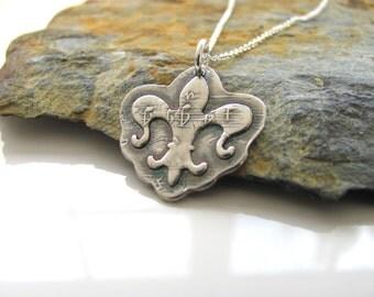 Fleur De Lis Necklace - Hand Made from Fine Silver - NOLA - Music Notes  - Ready to Ship - Silver Necklace - Fleur de Lis Jewelry