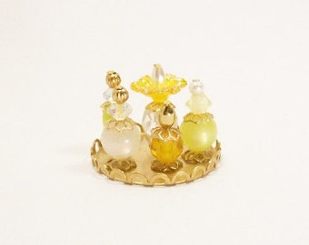 Yellow Perfume Bottles Sunshine Rays 1:12 Dollhouse Miniatures Scale Artisan
