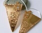 Egyptian Style Hoop Earrings, Natural Brass, Sterling Silver, Aztec, Tribal, Statement Earrings, Bohemian, Lightweight, Gift for Women