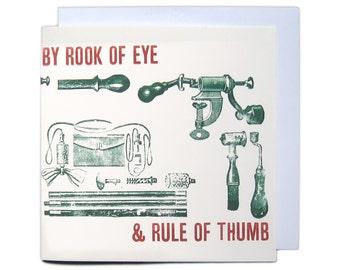 Letterpress Typeset Greetings Card - Rook of Eye & Rule of Thumb