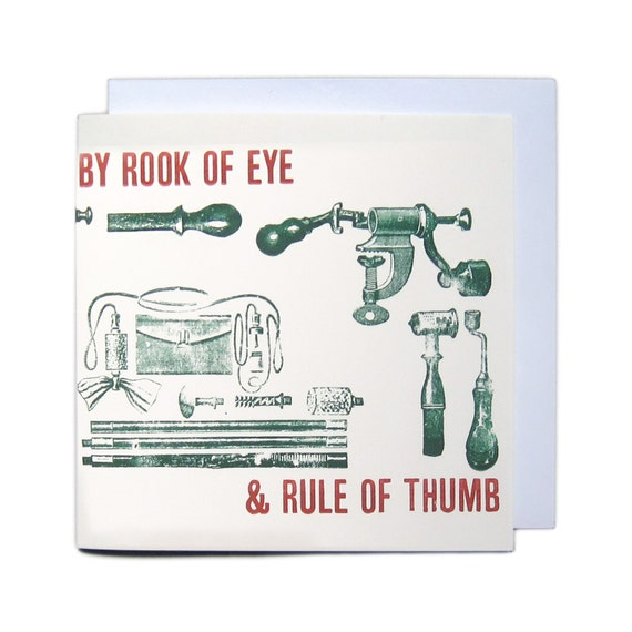 Letterpress Typeset Greetings Card - Rook of Eye & Rule of Thumb