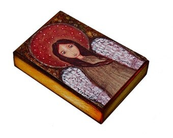 Angel in Gold - ACEO Giclee print mounted on Wood (2.5 x 3.5 inches) Folk Art  by FLOR LARIOS