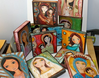 Your Choice Any Giclee Print Reproduction Mounted On 4 x 4 or 4 x 5 or 3 x 6 inches Wood Block - Folk Art  by FLOR LARIOS