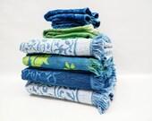 Vintage towel set - green and blue