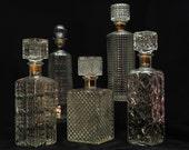 Vintage barware - large set of 5 vintage decanters