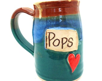 Father's Day Pops Dad Handmade Pottery Mug teal and brown by Jewel Pottery ceramics and pottery