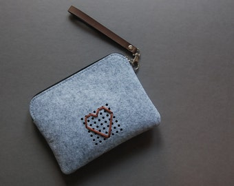 Felt Zipper Pouch, Power Cord Case, for Digital Accessories and others, Laptop Accessories, Custom Made, Heart Love.