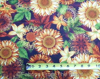 Welcome Harvest Sunflowers Lily's Autumn Flowers BY YARDS Henry Glass Cotton Fabric