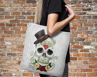 "Sugar Skull Tote Bag Over Sized 18"" x 18"" Top Hat Smiley"
