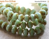 10% off MINTY FRESH .. 10 Premium Picasso Czech Glass Rondelle Beads 7x5mm (4752-10)