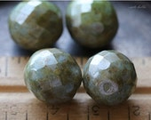 10% off SAGE CHUBS .. 4 Picasso Czech Faceted Glass Beads 13-14mm (4700-4)
