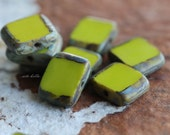 sale .. CHARTREUSE SLICE .. 10 Premium Picasso Czech Glass Rectangle Beads 8x10mm (4959-10)