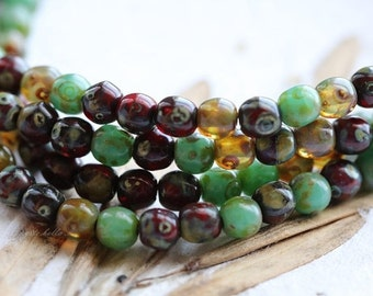 10% off MARBLE MIX 4mm .. 50 Picasso Czech Druk Glass Beads (5103-st)