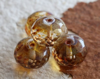 JUMBO WHISPERS No. 2 .. 4 Picasso Czech Chunky Glass Beads 11x17mm (5354-4)