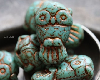 sale .. TURQUOISE OWLS No. 2 .. 6 Premium Picasso Czech Glass Owl Beads 11x18mm (5187-6)
