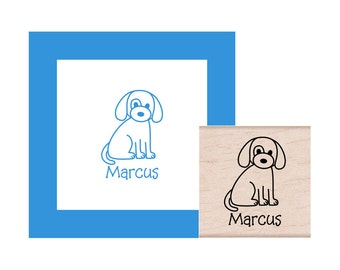 Puppy Dog Personalized Rubber Stamp