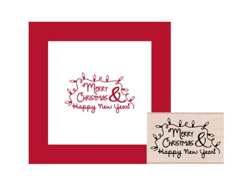 Merry Christmas and Happy New Year Rubber Stamp