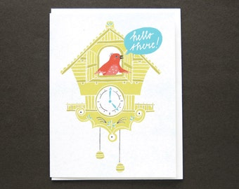 Greeting card - hello cuckoo clock bird