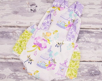Baby Girl Clothes, Toddler Girl Clothes, Sunsuit Bubble Romper with Ruffles Spring Summer Easter Birds of a Feather Purple Green