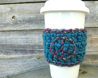 Embroidered Coffee sleeve with Peace Sign Coffee Cozy Reusable Coffee Accessories Stocking Stuffer Peace Sign Teal Pink Purple READY TO SHIP