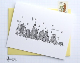 Atlanta, Georgia - United States - City Skyline Series - Folded Cards (6)