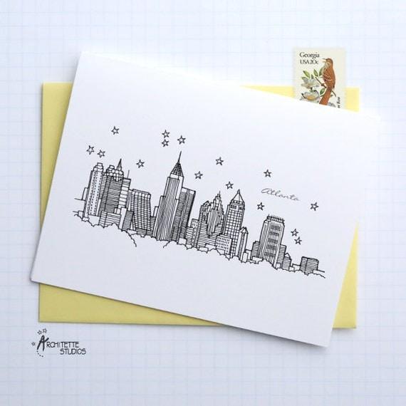 Atlanta (IL) United States  City pictures : Atlanta, Georgia United States City Skyline Series Folded Cards ...