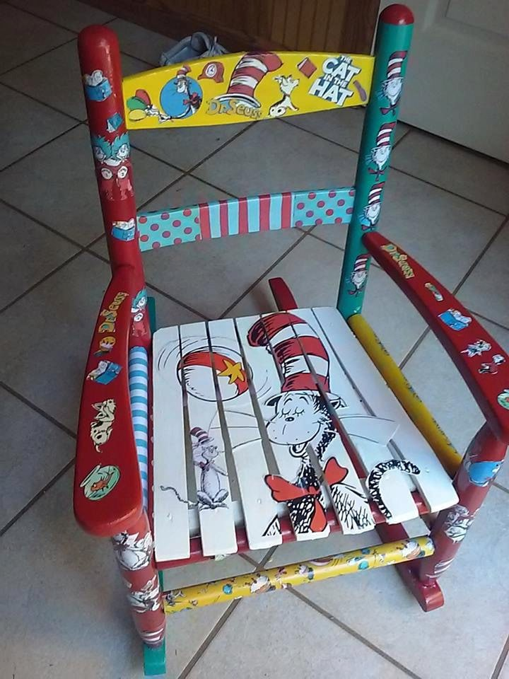 Dr Seuss Cat In The Hat Decoupage Rocking Chair From Olivia
