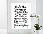 Michael Bublé Everything lyrics hand lettering  DIY Printable