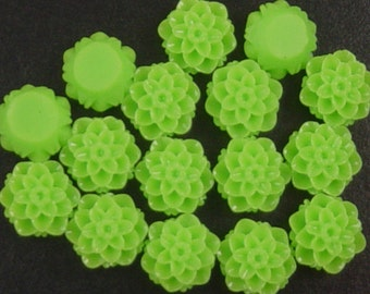 CLEARANCE Cabochon Resin Flower 16 Resin Round Rose Flower Green 10mm x 6mm (1027cab10m1-1)os