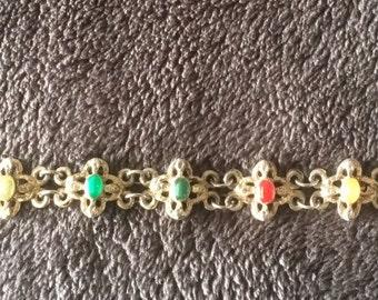 Vintage boho bracelet multi colored stones