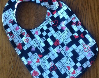 Valentine Crossword Puzzle Minky Baby/Toddler Bib