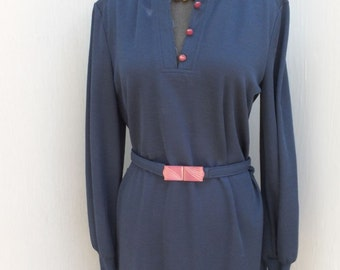 1970s Butte Navy Blue Sweater Dress / Sweater Dress, Winter Fashion, size 16, Butte Knit