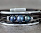 Sterling Silver Bracelet / Leather Bracelet/3 Wishes Bracelet/Pearls  Bracelet