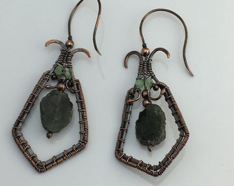 Copper wire wrap and green rock earrings