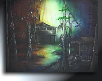 Louisiana Bayou Swamp Painting Original Rainbow Landscape Art Oanvas Size 24 X 30 Shacks Trees In Swamp