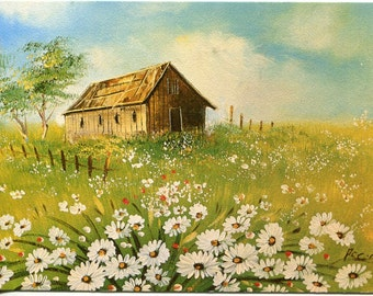 Beautiful Vintage postcard from the 1970s of Daisies and a country barn; artist signed vintage postcard, SharonFosterVintage
